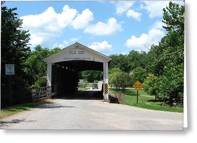 Billie Creek Covered Bridge Greeting Card by BJ Karp