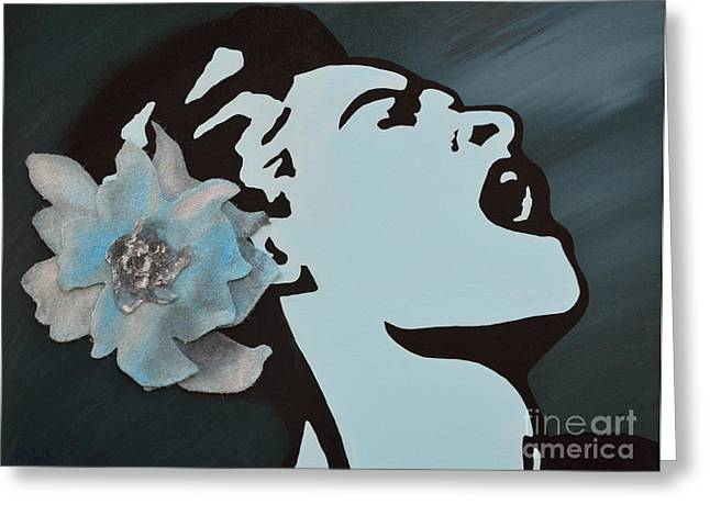 Billie Holiday Greeting Card by Alys Caviness-Gober