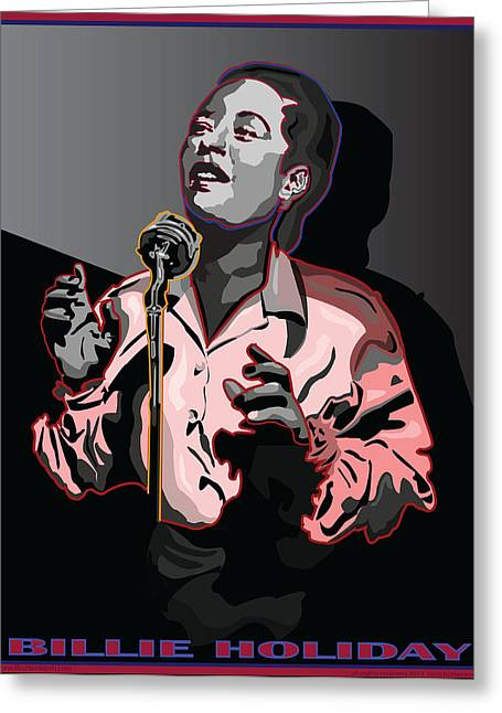 Billie Holiday Jazz Singer Greeting Card by Larry Butterworth