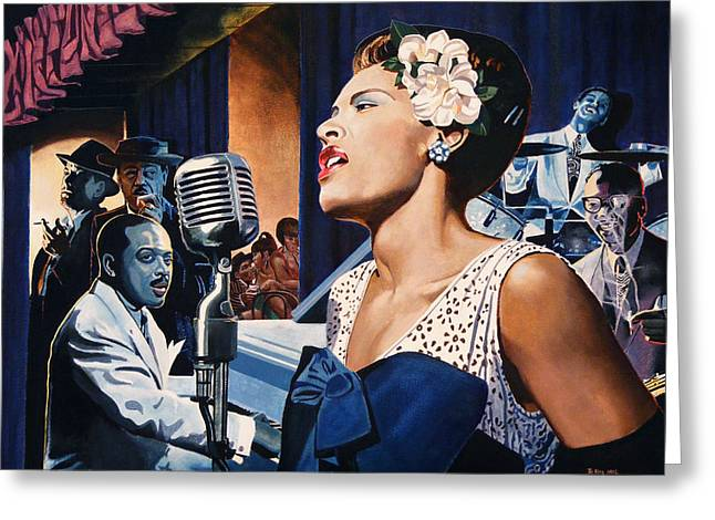 Billie Holiday - Lady Sings The Blues Greeting Card by Jo King