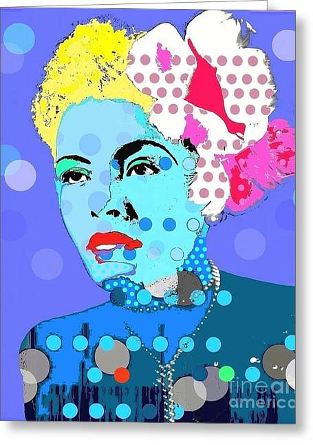 Billie Holiday Greeting Card by Ricky Sencion