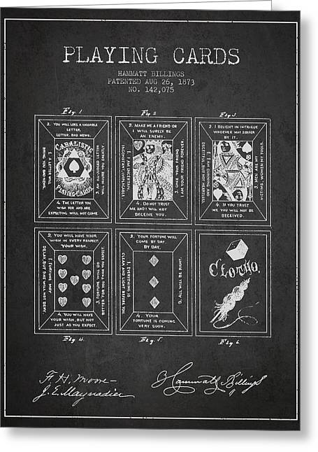 Billings Playing Cards Patent Drawing From 1873 - Dark Greeting Card by Aged Pixel