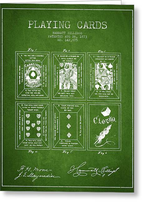 Billings Playing Cards Patent Drawing From 1873 - Green Greeting Card by Aged Pixel