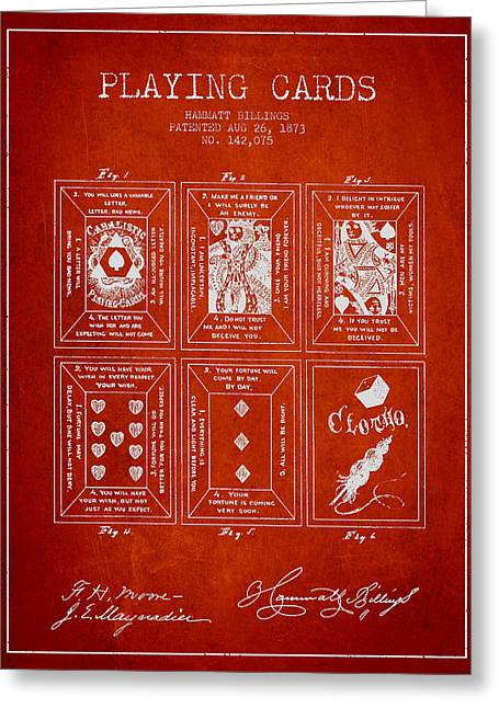 Billings Playing Cards Patent Drawing From 1873 - Red Greeting Card by Aged Pixel