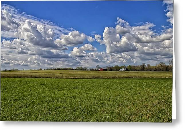 Billow Skies On Green Greeting Card by Bill Tiepelman