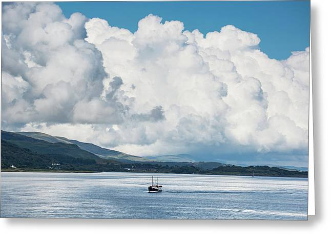Billowing Cloud And A Boat In The Ocean Greeting Card