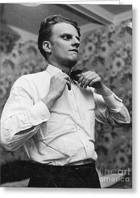 Billy Graham Jr. Preparing To Speak In Boston 1950 Greeting Card by The Harrington Collection