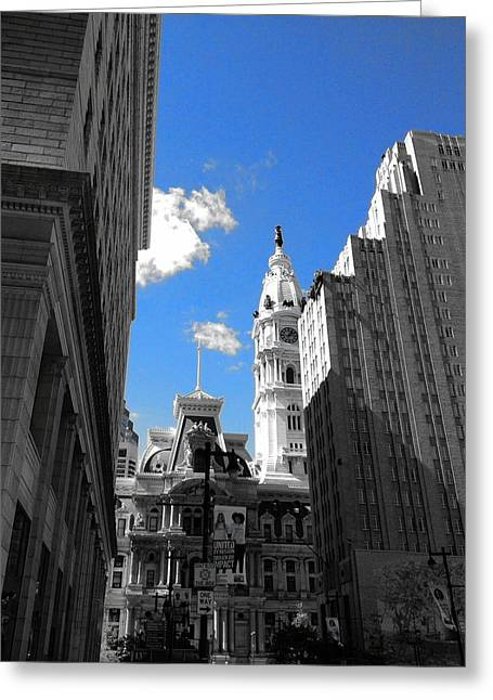 Greeting Card featuring the photograph Billy Penn Blue by Photographic Arts And Design Studio
