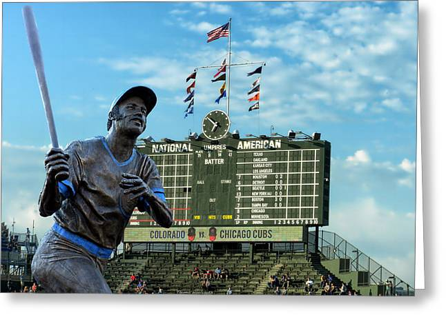Billy Williams Chicago Cub Statue Greeting Card by Thomas Woolworth