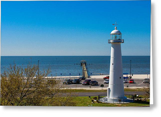 Biloxi Lighthouse And The Gulf Of Mexico Greeting Card