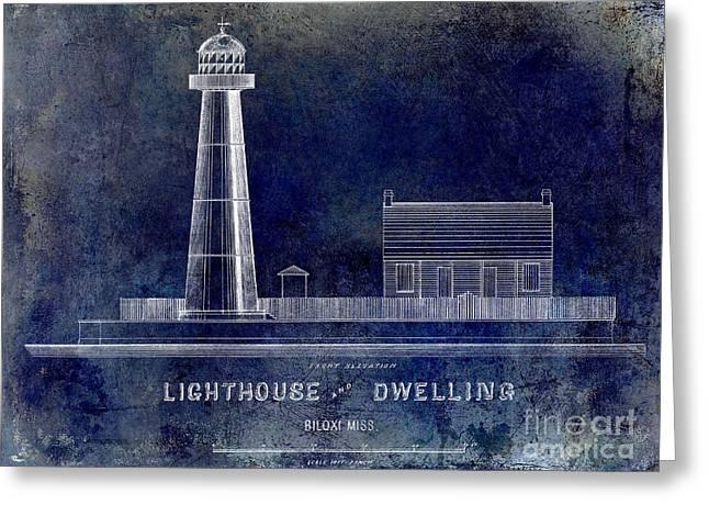 Biloxi Lighthouse Drawing Blue Greeting Card by Jon Neidert