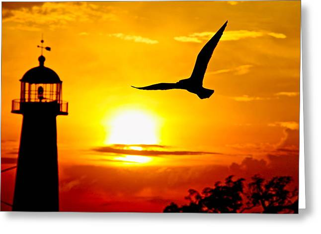 Biloxi Lighthouse Sunset Greeting Card