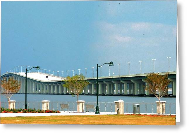 Biloxi - Ocean Springs Bridge Greeting Card by Cathy Jourdan