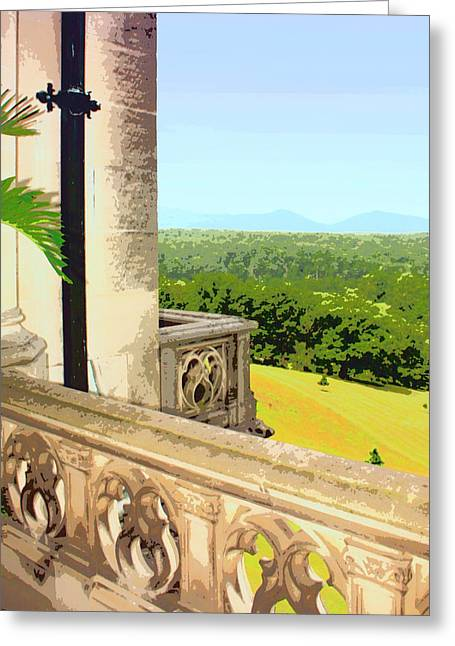 Biltmore Balcony Asheville Nc Greeting Card by William Dey