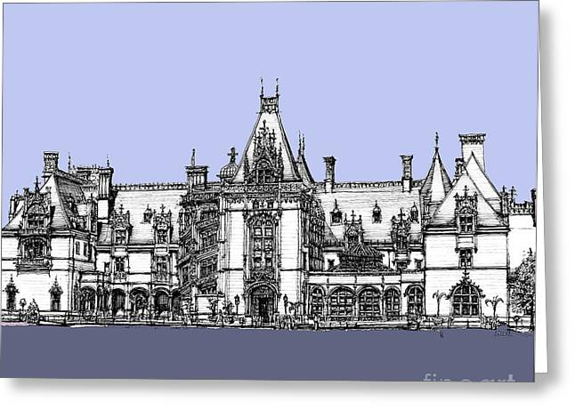 Biltmore Estate In Blues Greeting Card by Adendorff Design