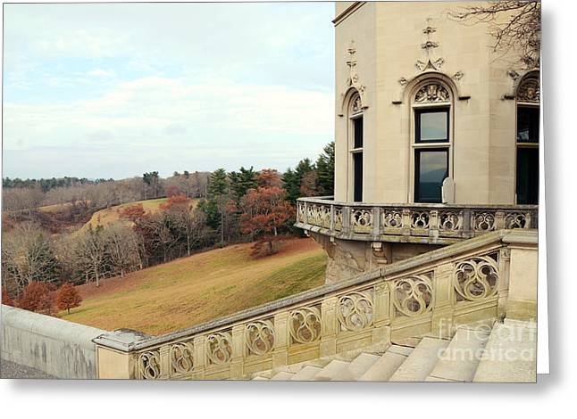 Biltmore Estates Garden Terrace Staircase View - Biltmore Autumn Fall Woodlands Greeting Card by Kathy Fornal