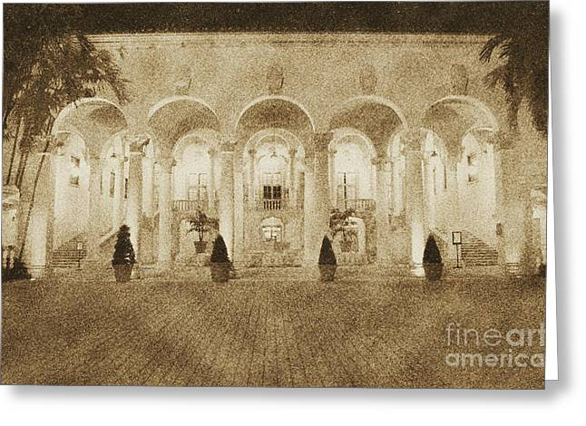 Biltmore Hotel Arched Colonnade And Grand Ballroom Courtyard Coral Gables Miami Vintage Digital Art Greeting Card by Shawn O'Brien