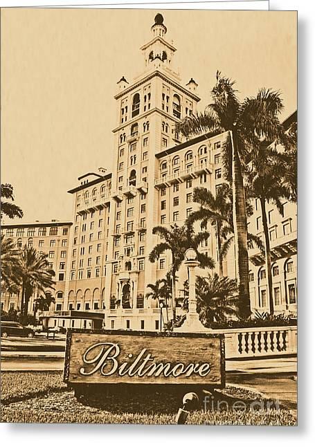 Biltmore Hotel Facade And Sign Coral Gables Miami Florida Rustic Digital Art Greeting Card by Shawn O'Brien