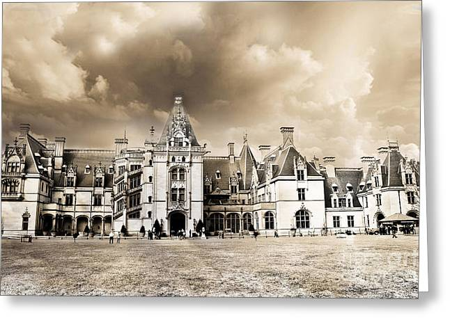 Biltmore Mansion Estate Architecture - Biltmore Estate Mansion Asheville North Carolina Greeting Card by Kathy Fornal