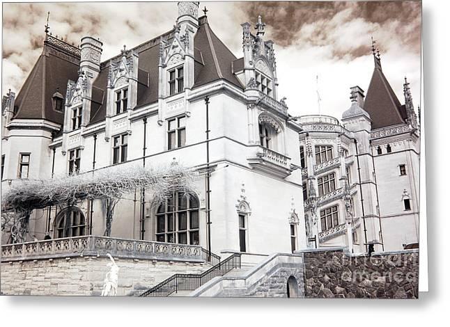 Biltmore Mansion Estate Asheville North Carolina - Surreal Biltmore Estate Mansion  Greeting Card by Kathy Fornal