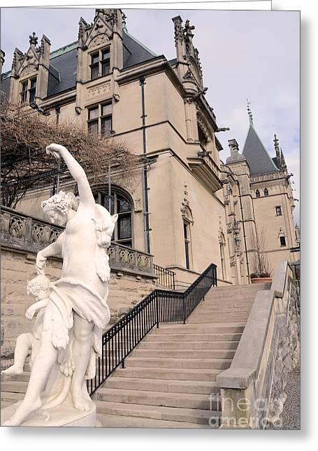 Biltmore Mansion Estate Italian Architecture And Sculptures Statues Greeting Card by Kathy Fornal