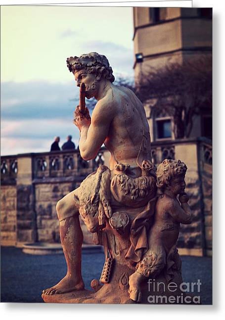 Biltmore Mansion Estate Italian Sculpture Art - Biltmore Statues Italian Archictecture Greeting Card by Kathy Fornal