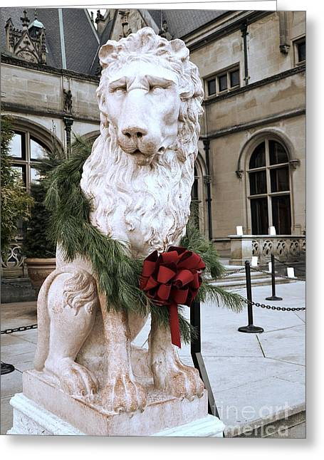 Biltmore Mansion Estate Lion - Biltmore Mansion Mascot - Biltmore Lion Christmas Wreath Greeting Card by Kathy Fornal