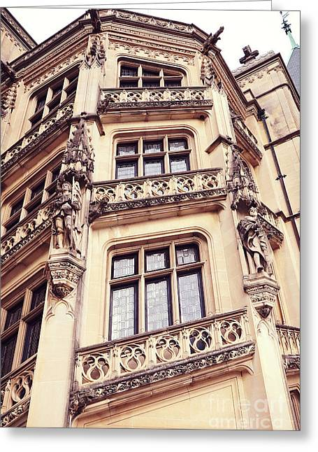 Biltmore Mansion Estate Windows - Biltmore Mansion Gothic Italian Architecture Greeting Card by Kathy Fornal