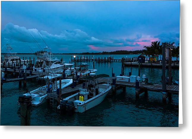Bimini Big Game Club Docks After Sundown Greeting Card