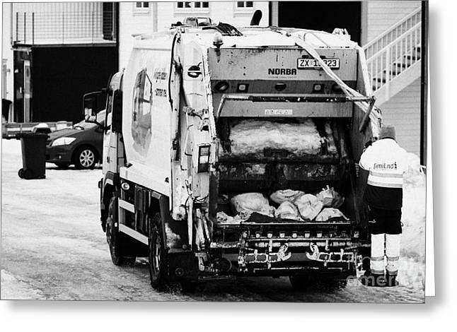 bin refuse collection rounds in winter Honningsvag finnmark norway europe Greeting Card