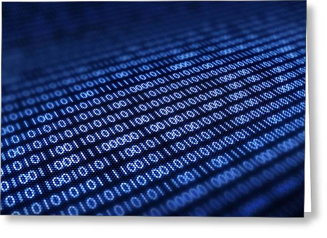 Binary Code On Pixellated Screen Greeting Card by Johan Swanepoel