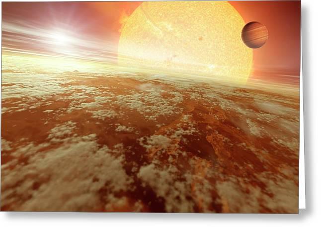 Binary Star System Greeting Card by Detlev Van Ravenswaay
