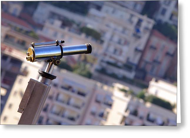 Binoculars View Of City Greeting Card by Ioan Panaite