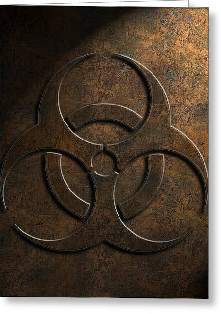 Greeting Card featuring the digital art Biohazard Symbol Stone Texture by Brian Carson