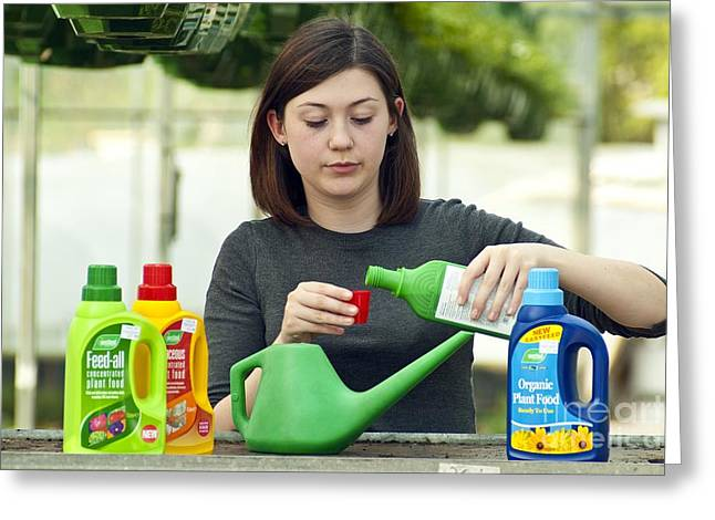 Biology Student Diluting Fertilisers Greeting Card