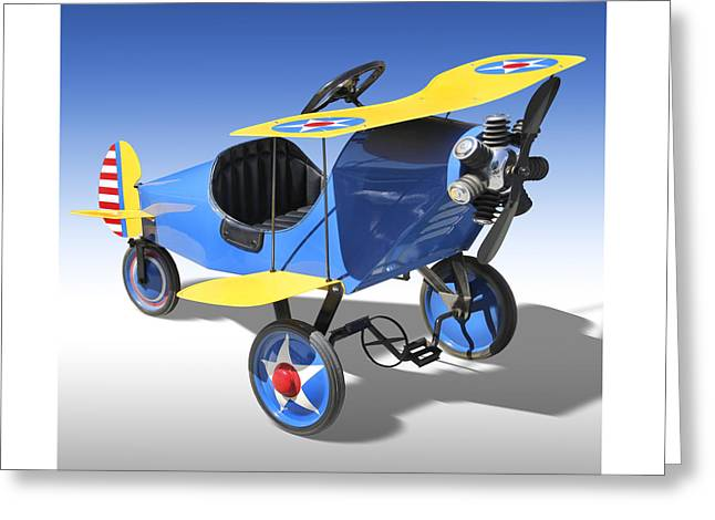 Biplane Peddle Car Greeting Card by Mike McGlothlen