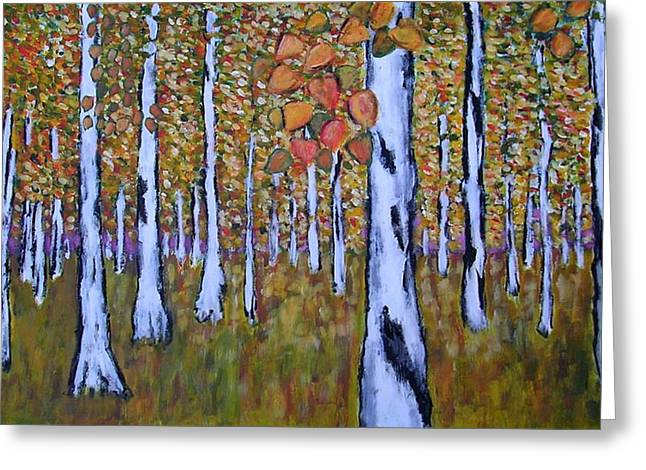 Greeting Card featuring the painting Birch Autumn by Zeke Nord