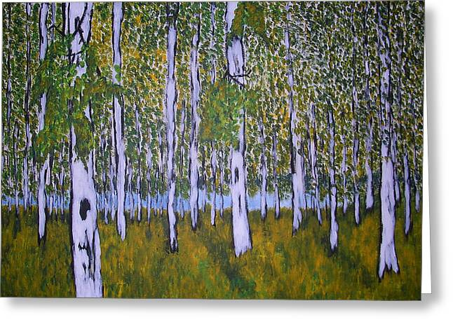 Greeting Card featuring the painting Birch Forest by Zeke Nord