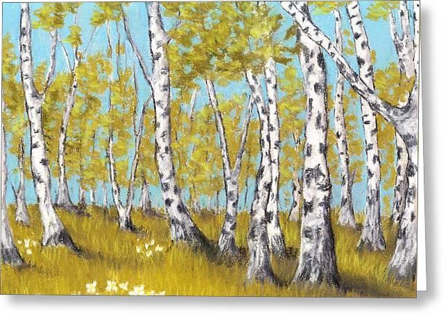 Birch Grove Greeting Card by Anastasiya Malakhova