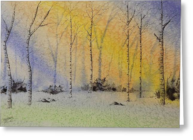 Birch In Blue Greeting Card
