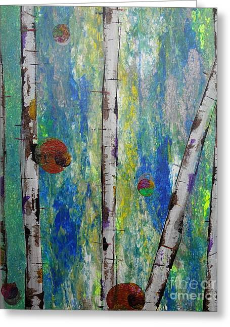 Birch - Lt. Green 4 Greeting Card