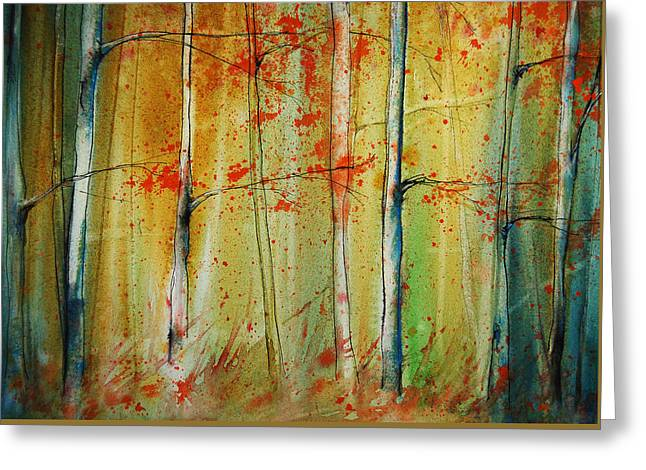 Birch Tree Forest I Greeting Card by Jani Freimann