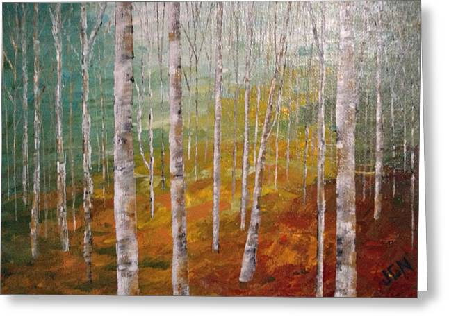 Birch Trees #4 Greeting Card by J A Cahill