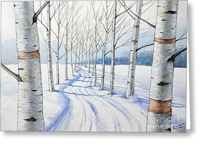 Birch Trees Along The Curvy Road Greeting Card