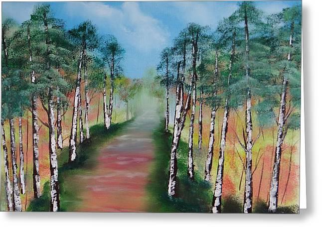 Birch Trees Along Winding Path Greeting Card