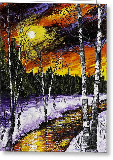 Birch Trees And Stream In Winter Greeting Card