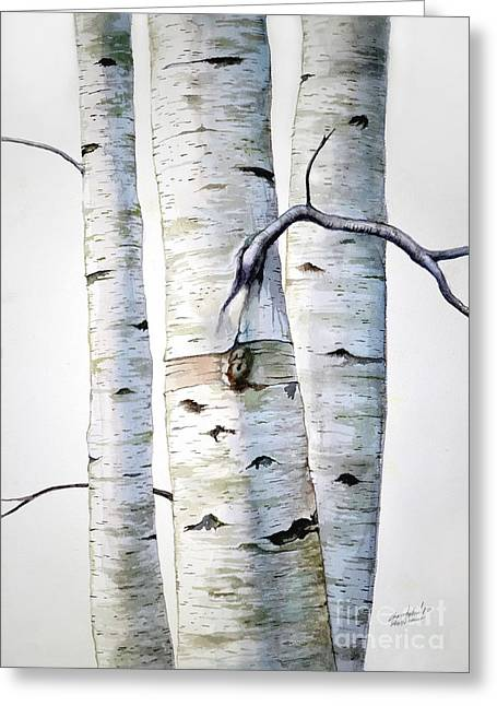 Birch Trees In Watercolor Greeting Card