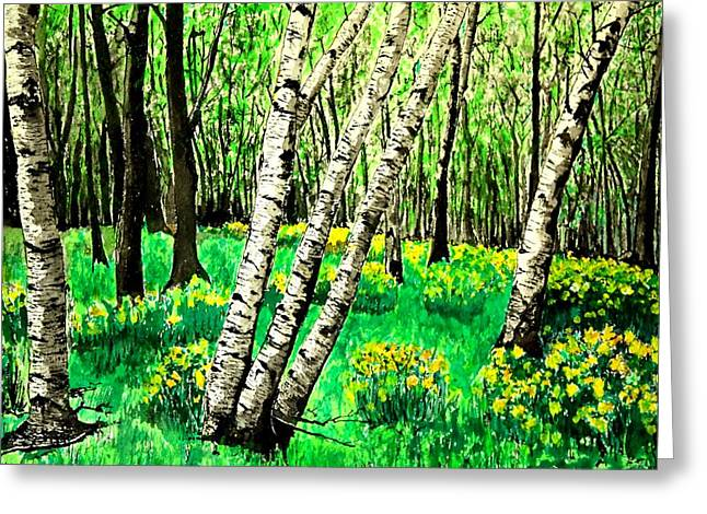 Birch Trees In Spring Greeting Card