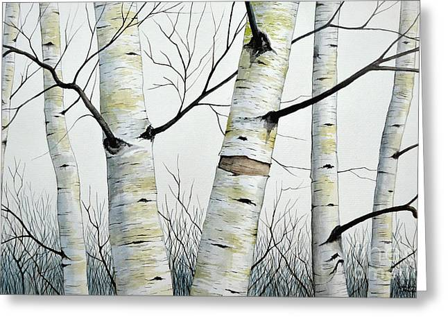 Birch Trees In The Forest In Watercolor Greeting Card