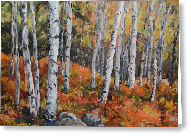 Birch Trees Greeting Card by Alexandra Maria Ethlyn Cheshire